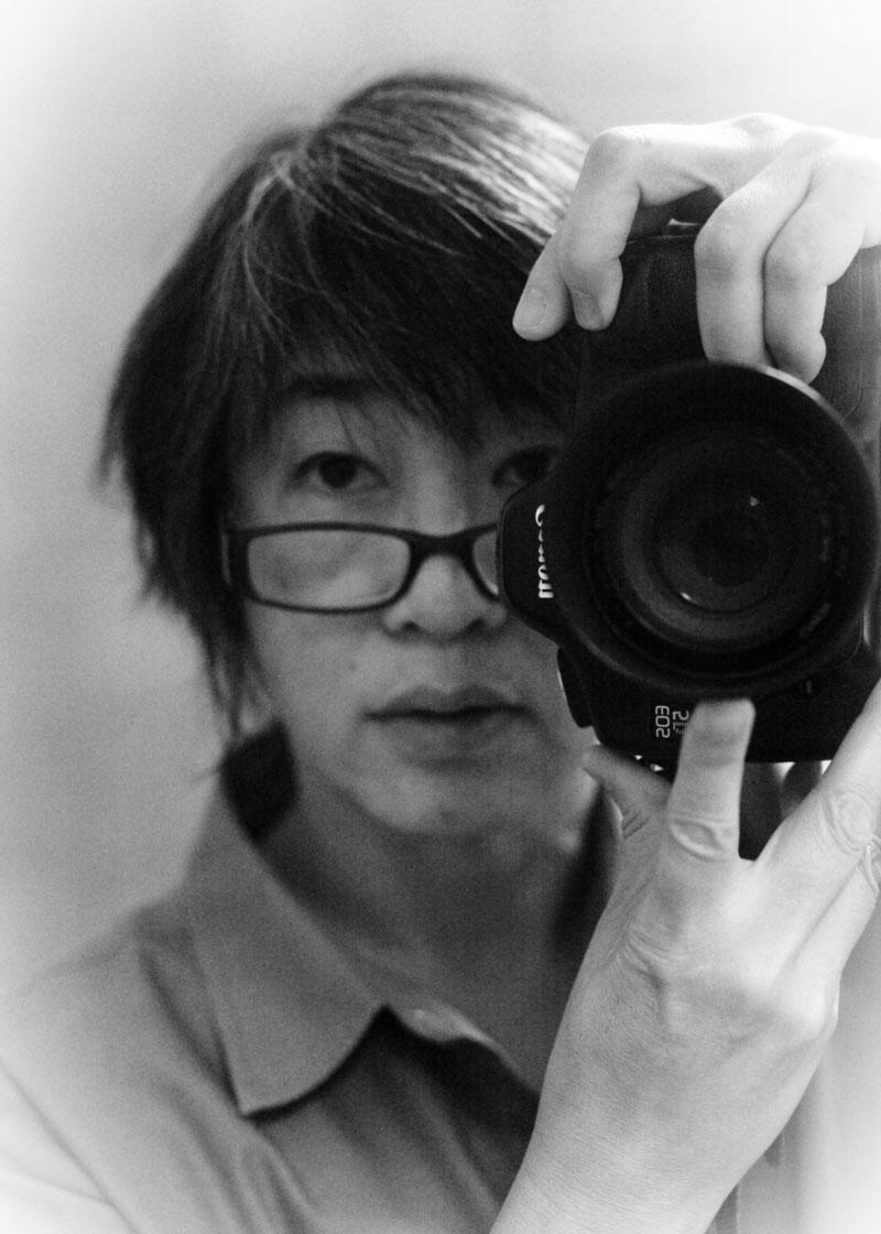 23-Sept-2016. Self portrait @56. Bridget Canfield. High Key High Contrast filter w/vignette